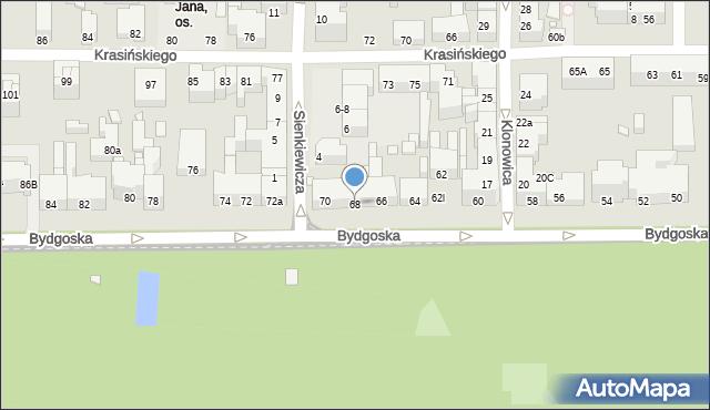 Toruń, Bydgoska, 68, mapa Torunia