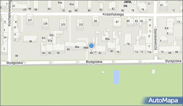 Toruń, Bydgoska, 84, mapa Torunia