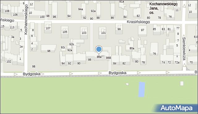 Toruń, Bydgoska, 86a, mapa Torunia