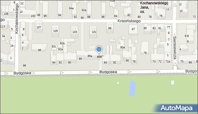 Toruń, Bydgoska, 86B, mapa Torunia