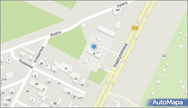Warszawa, Bystra, 9, mapa Warszawy