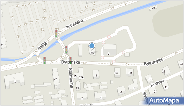 Zabrze, Bytomska, 2A, mapa Zabrza