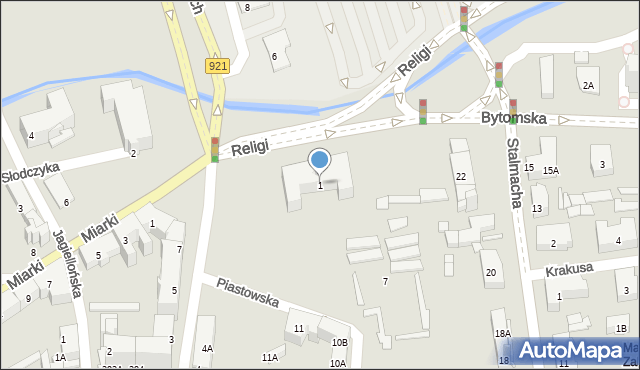 Zabrze, Bytomska, 1, mapa Zabrza