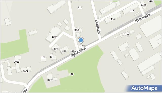 Zabrze, Bytomska, 110, mapa Zabrza