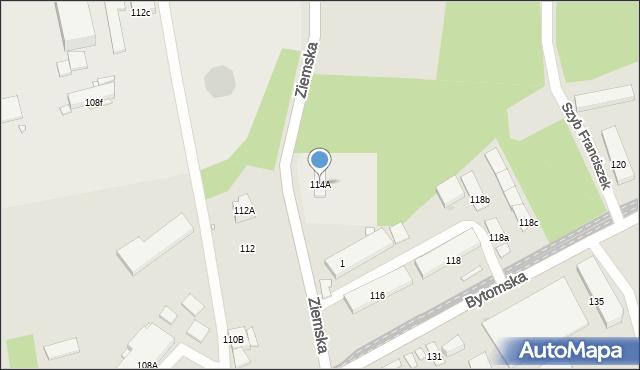 Zabrze, Bytomska, 114A, mapa Zabrza