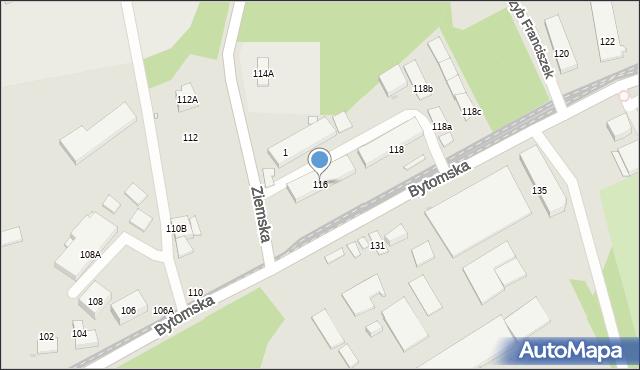 Zabrze, Bytomska, 116, mapa Zabrza