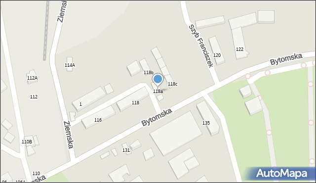 Zabrze, Bytomska, 118a, mapa Zabrza
