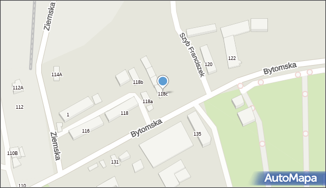 Zabrze, Bytomska, 118c, mapa Zabrza
