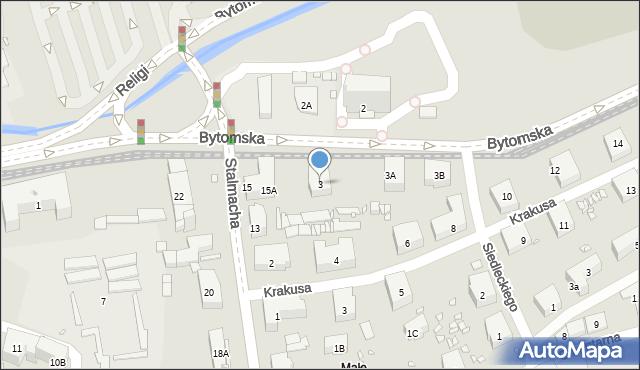Zabrze, Bytomska, 3, mapa Zabrza