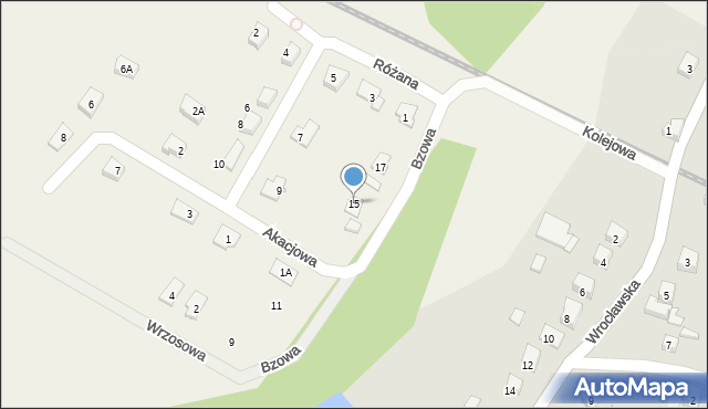 Księginice, Bzowa, 15, mapa Księginice