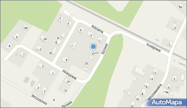 Księginice, Bzowa, 17, mapa Księginice