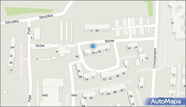 Ruda Śląska, Bzów, 7A, mapa Rudy Śląskiej
