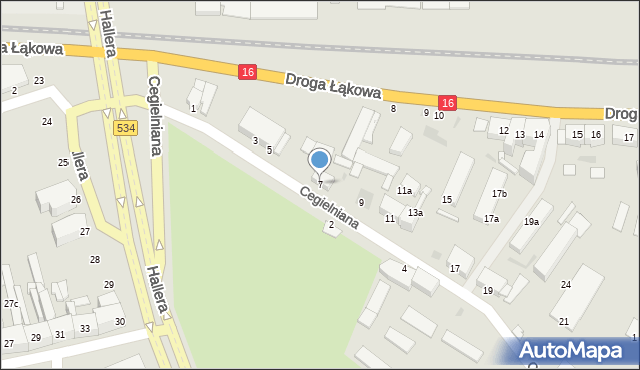 Grudziądz, Cegielniana, 7, mapa Grudziądza