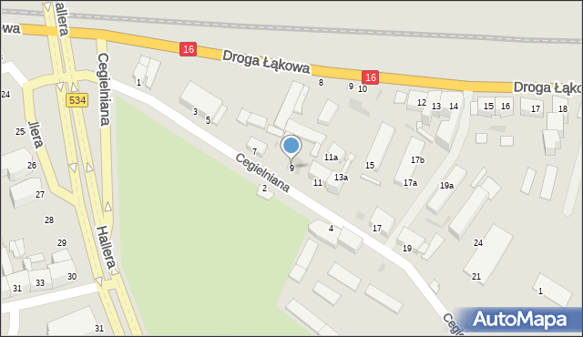 Grudziądz, Cegielniana, 9, mapa Grudziądza