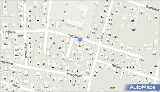 Radom, Ceglana, 13, mapa Radomia
