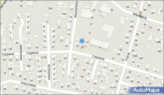 Radom, Ceglana, 16, mapa Radomia