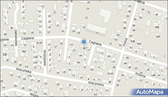 Radom, Ceglana, 19, mapa Radomia