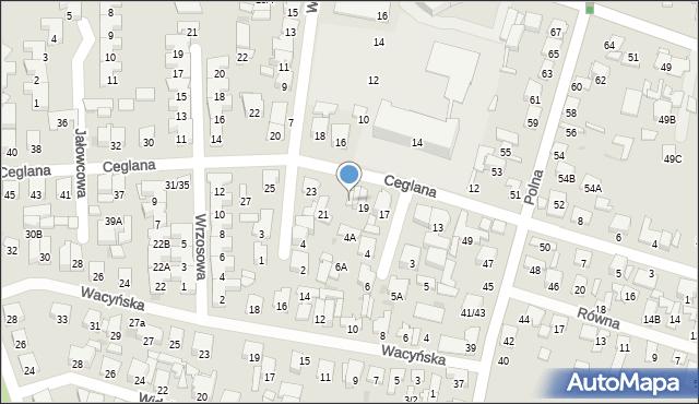 Radom, Ceglana, 19A, mapa Radomia