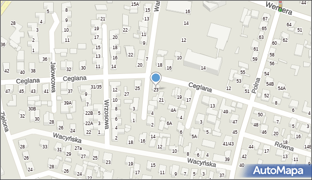Radom, Ceglana, 23, mapa Radomia