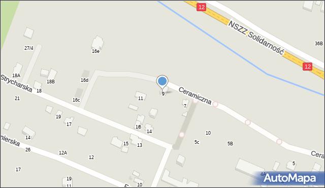 Radom, Ceramiczna, 9, mapa Radomia