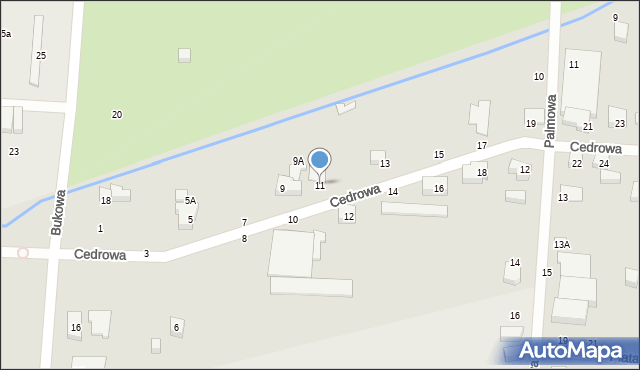 Toruń, Cedrowa, 11, mapa Torunia