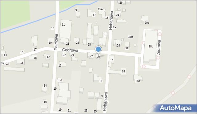 Toruń, Cedrowa, 28, mapa Torunia