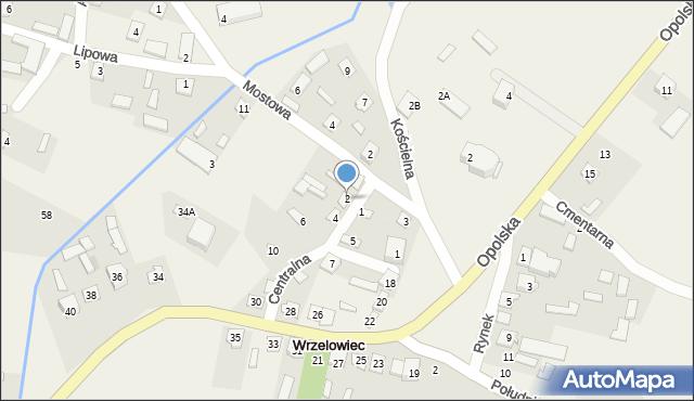 Wrzelowiec, Centralna, 2, mapa Wrzelowiec