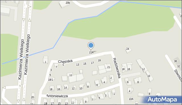 Białystok, Chętnika Adama, 11A, mapa Białegostoku