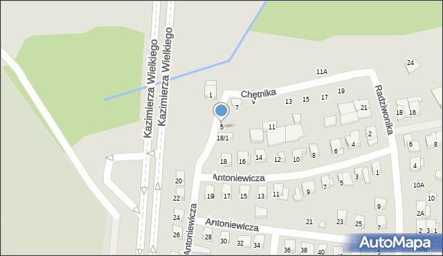 Białystok, Chętnika Adama, 5, mapa Białegostoku