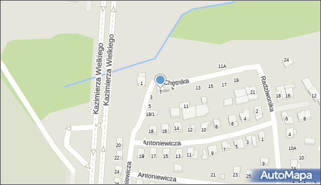 Białystok, Chętnika Adama, 7, mapa Białegostoku