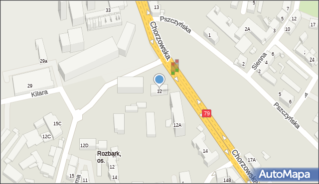 Bytom, Chorzowska, 12, mapa Bytomia