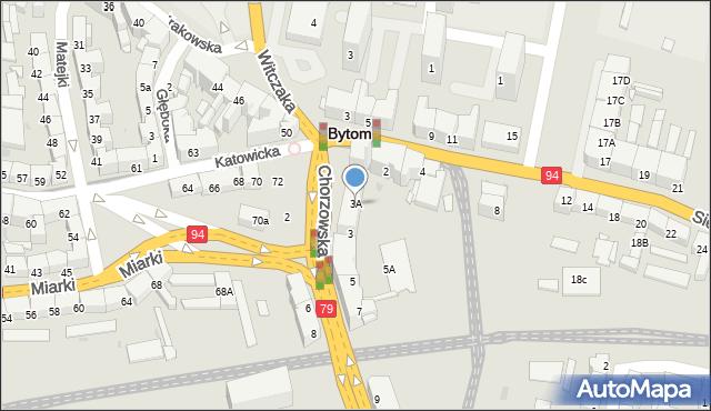 Bytom, Chorzowska, 3A, mapa Bytomia