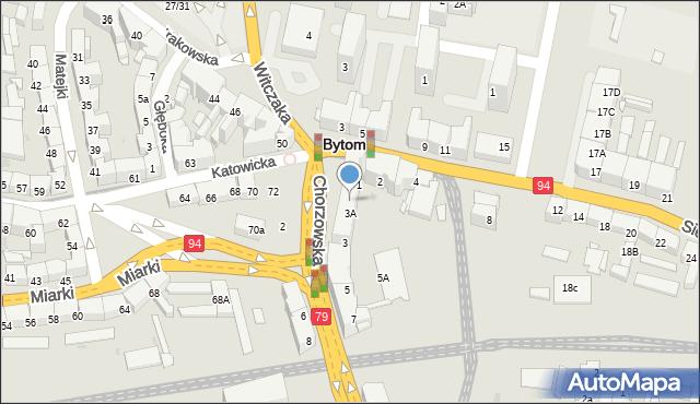 Bytom, Chorzowska, 3b, mapa Bytomia