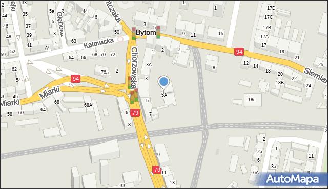 Bytom, Chorzowska, 5A, mapa Bytomia