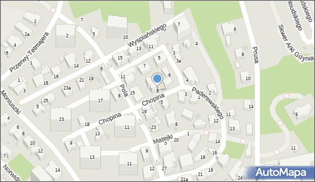 Gdynia, Chopina Fryderyka, 8, mapa Gdyni