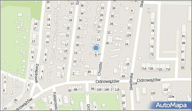 Gliwice, Chodźki Ignacego, 5, mapa Gliwic