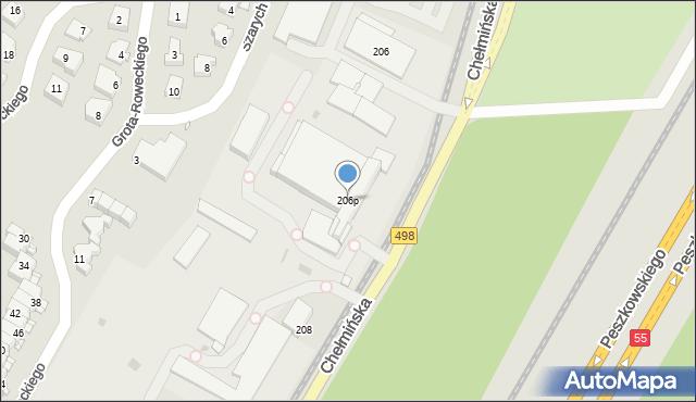 Grudziądz, Chełmińska, 206p, mapa Grudziądza
