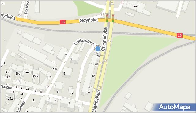 Grudziądz, Chełmińska, 26, mapa Grudziądza