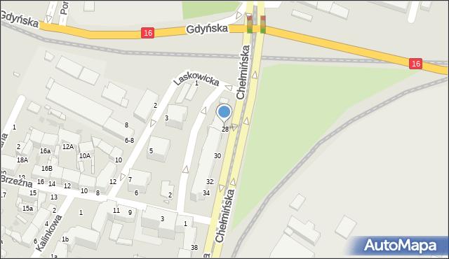 Grudziądz, Chełmińska, 28, mapa Grudziądza