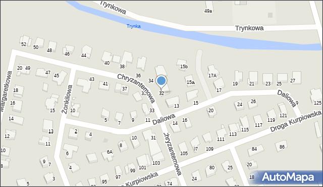 Grudziądz, Chryzantemowa, 32, mapa Grudziądza
