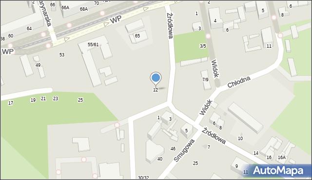 Łódź, Chłodna, 12, mapa Łodzi