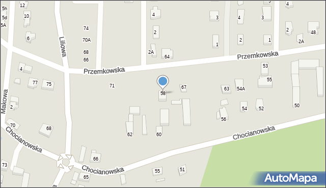 Polkowice, Chocianowska, 58, mapa Polkowice