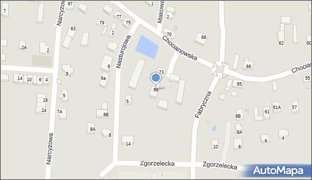 Polkowice, Chocianowska, 69, mapa Polkowice