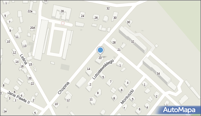 Rudnik nad Sanem, Chopina Fryderyka, 22, mapa Rudnik nad Sanem