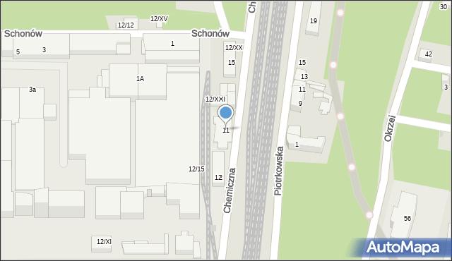 Sosnowiec, Chemiczna, 11, mapa Sosnowca