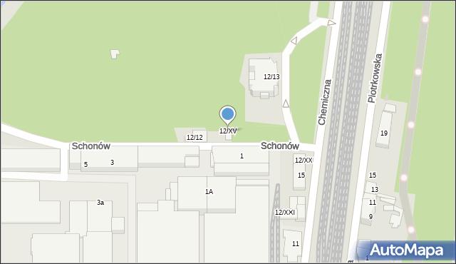 Sosnowiec, Chemiczna, 12/XV, mapa Sosnowca