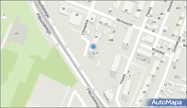Sosnowiec, Chmielna, 5, mapa Sosnowca