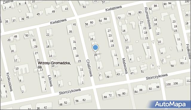 Toruń, Chabrowa, 10, mapa Torunia