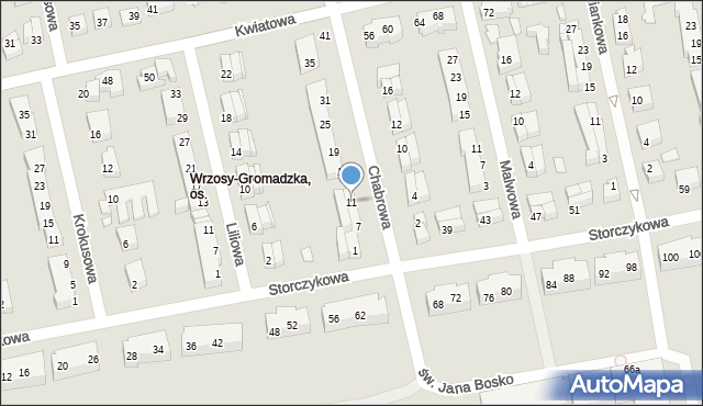 Toruń, Chabrowa, 11, mapa Torunia