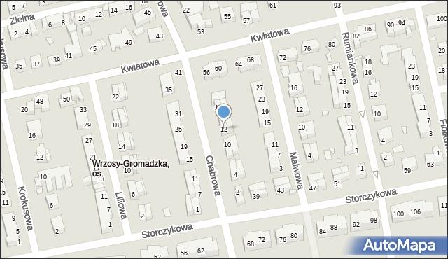 Toruń, Chabrowa, 12, mapa Torunia